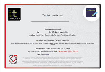 Cyber Essentials Certification Certificate