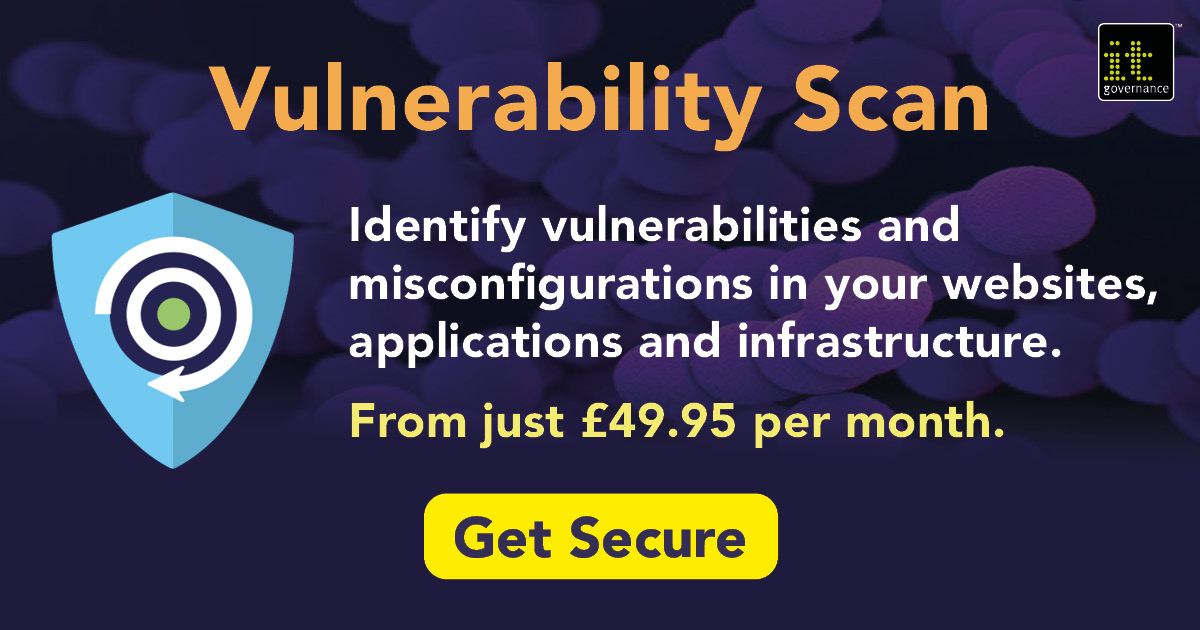 Vulnerability scanning from just £49.95 a month with IT Governance