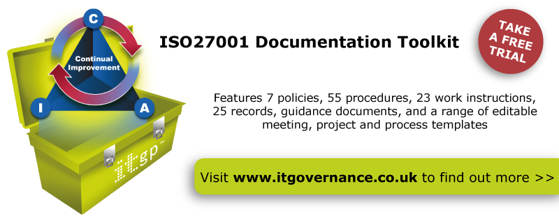 Take a free trial of our ISO 27001 ISMS Documentation Toolkit
