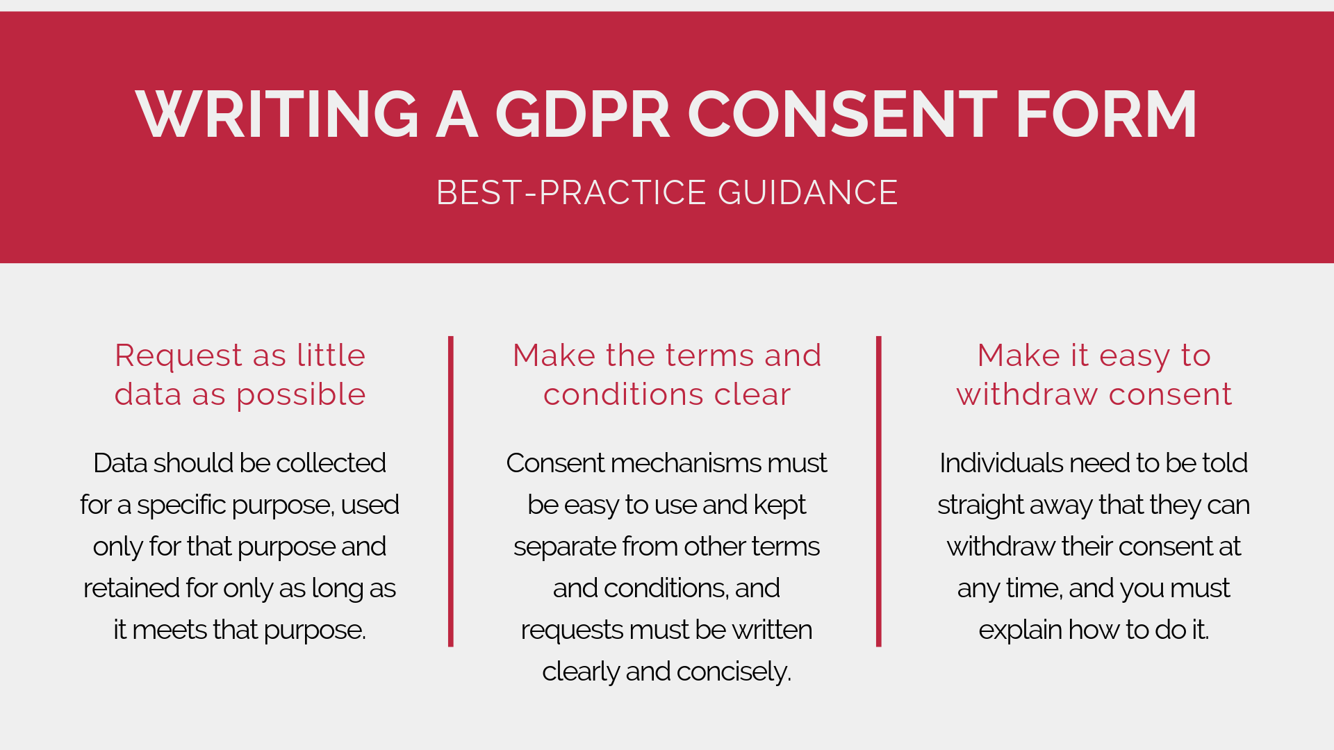 Best-practice guidance for writing a GDPR consent form