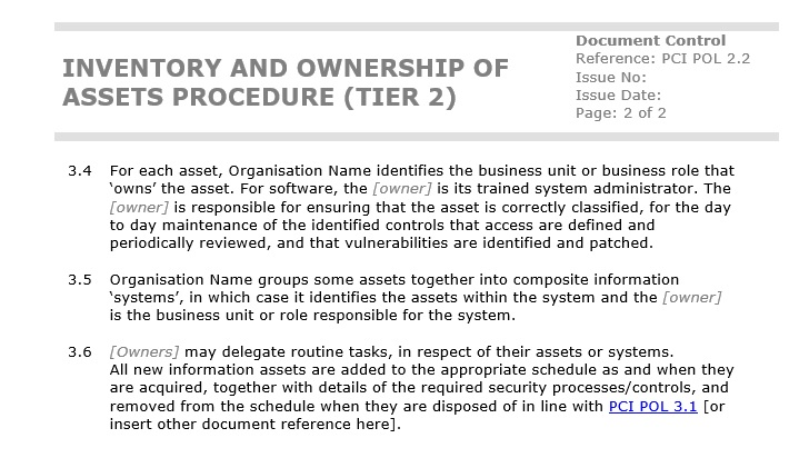 Screenshot of one of our PCI DSS template documents