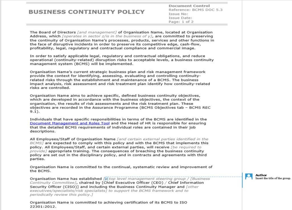 Example of the business continuity policy template included in the ISO 22301 BCMS Documentation Toolkit, with author comments providing instructions on how to complete the template.