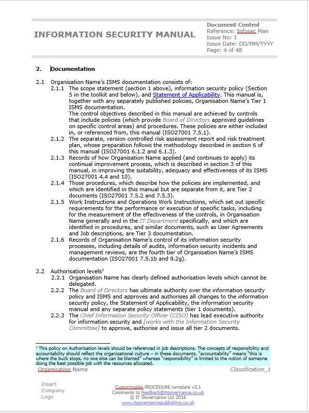 Example of the Information Security Manual included in the ISO 27001 ISMS Documentation Toolkit.