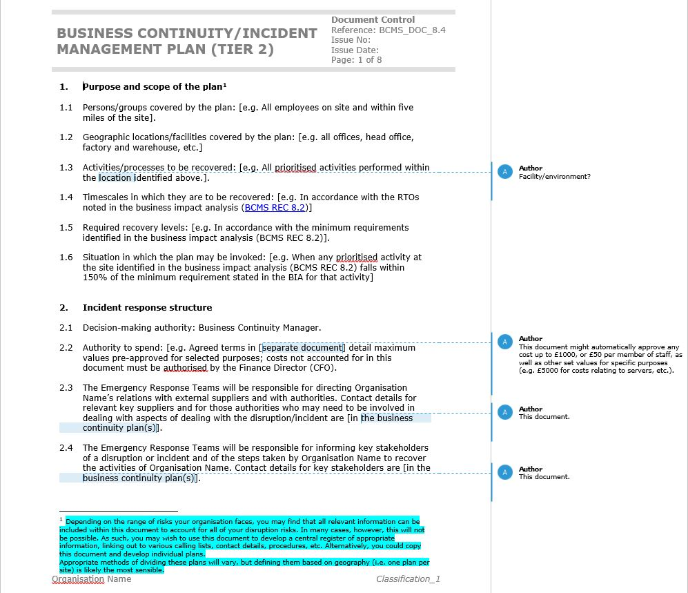 Example of the business continuity plan template included in the ISO22301 BCMS Documentation Toolkit