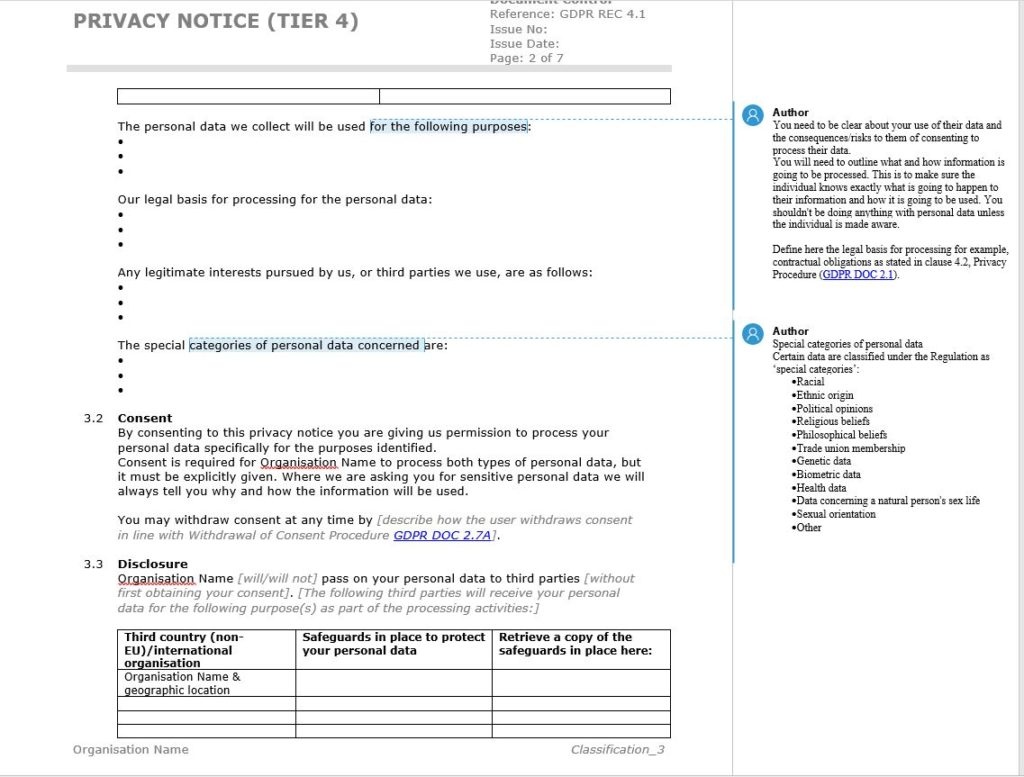 GDPR Privacy Notice Template - Example from the EU GDPR Documentation Toolkit