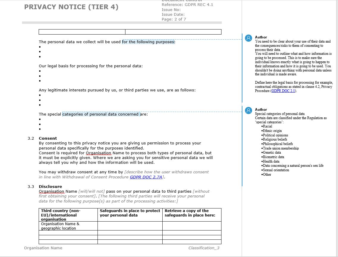 gdpr privacy notice template example from the eu gdpr documentation toolkit