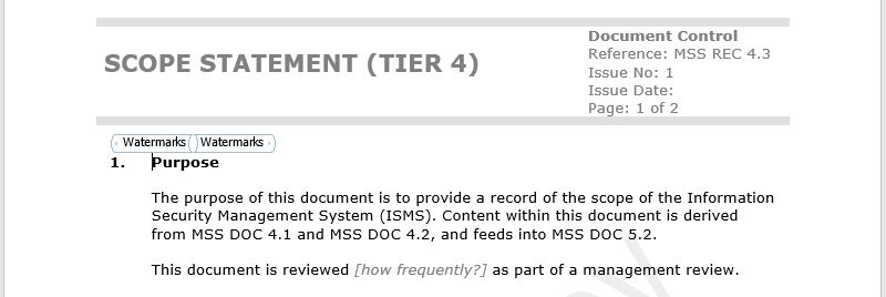 Our customisable scope statement takes the hassle out of documenting ISO 27001 compliance.