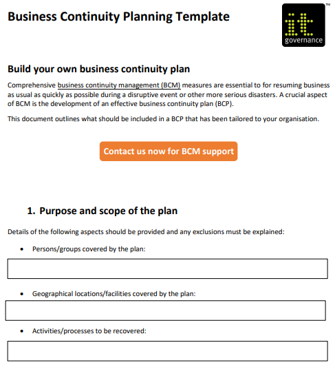 how to create a business continuity plan with free
