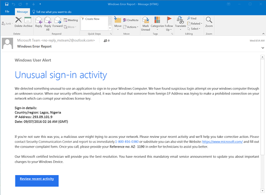 "A phishing email claiming that there has been ""unusual sign-in activity"""