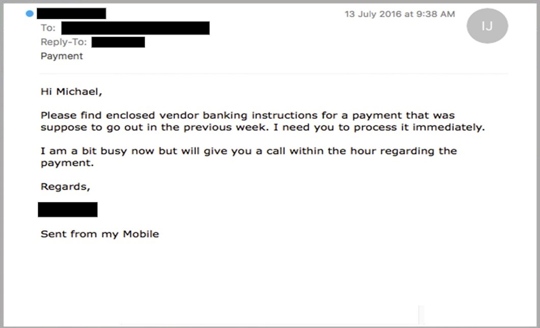 A phishing email imitating the recipient's boss