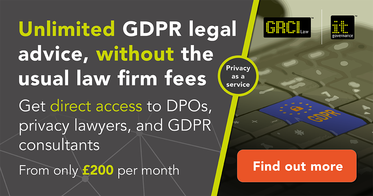 Unlimited GDPR legal advice, without the usual law fees. Find out more