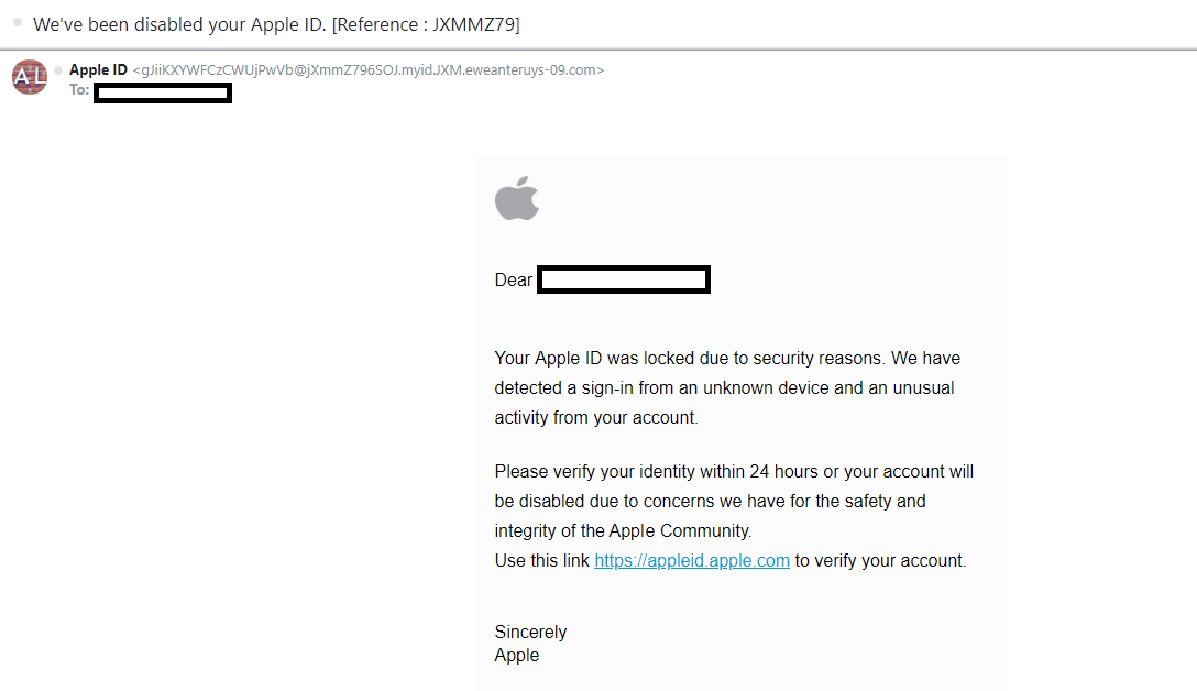 apple phishing email