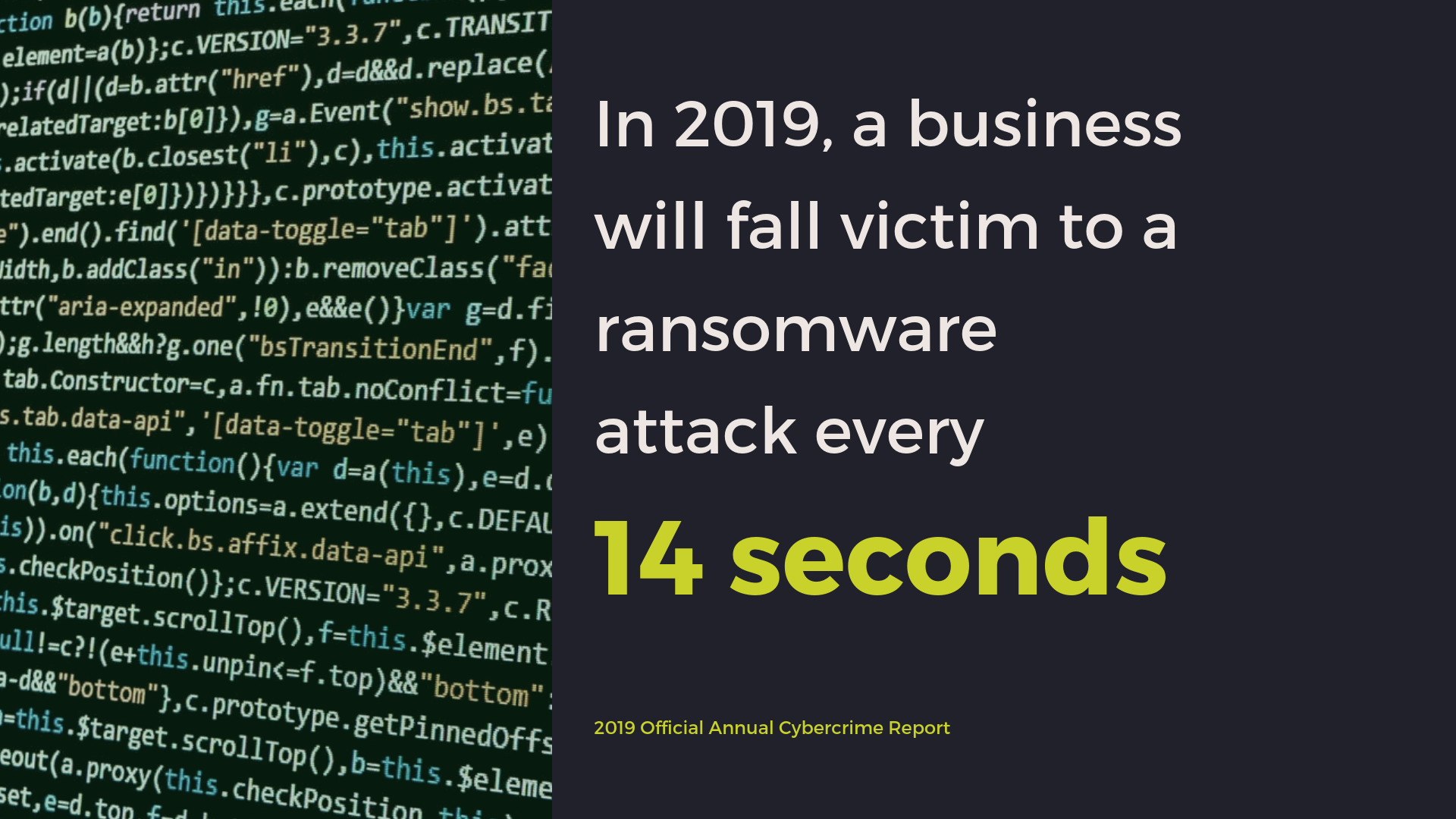 In 2019, businesses will fall victim to a ransomware attack every 14 seconds