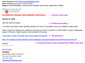 Scam email imitating Washington State University