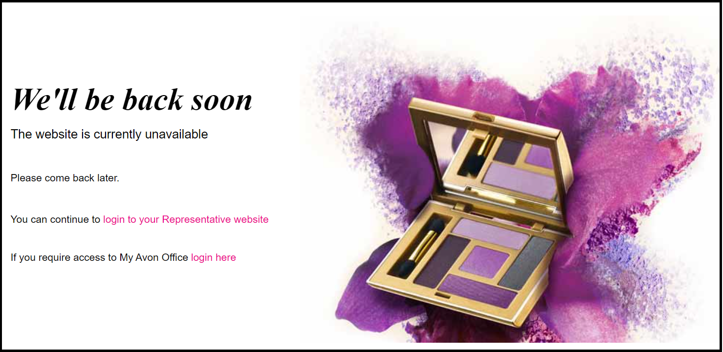 Avon's UK website displays a message saying content is currently unavailable