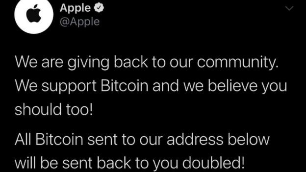 "Apple tweeted that it is ""giving back to our community. We support Bitcoin and we believe you should too!"""