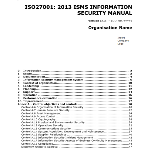ISO 27001 Templates: Information Security Manual